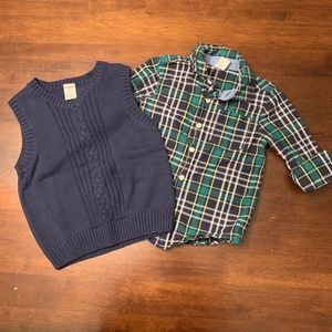 Gymboree |Sweater Vest and Plaid Long Sleeve Shirt